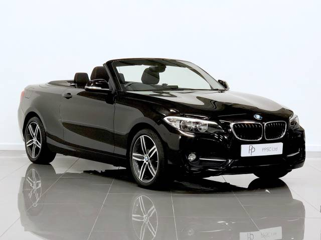 BMW 2 Series 2.0 218d [150] Sport 2dr [Nav] Step Auto Convertible Diesel Jet Black at Phil Presswood Specialist Cars Brigg